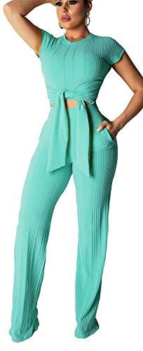 - Women's Rib Two Piece Sets Short Sleeve Crop Top High Waist Wide Leg Long Pants with Belt