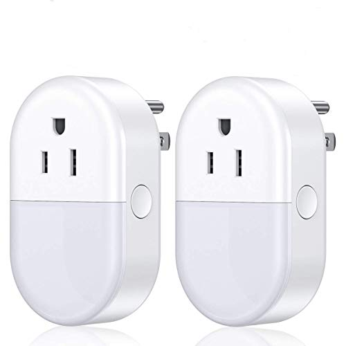 POWERADD Smart Plug,WiFi Smart Outlet Plug with Night Light That Works with Alexa,Google Home,Echo,Remote Control Wireless Smart Switch Socket 2.4Ghz (2 Pack)
