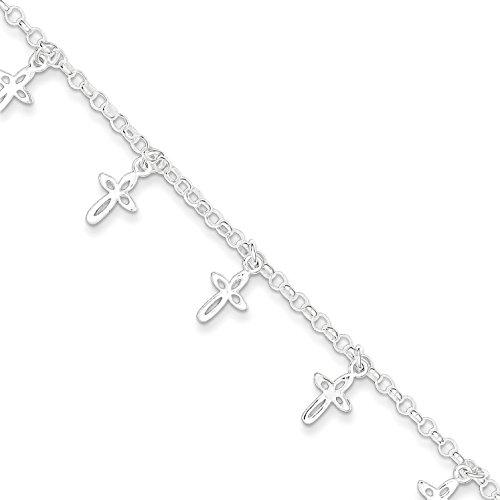 Sterling Silver Cross Rolo Lin