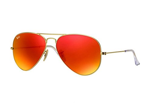Ray-Ban AVIATOR LARGE METAL - MATTE GOLD Frame CRYSTAL BROWN MIRROR ORANGE Lenses 55mm - Ban Aviator Ray 14 55