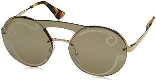 Prada Women's Cinema Round Brow Bar Sunglasses, Pale Gold/Pale Gold, One - Prada Eyewear Women