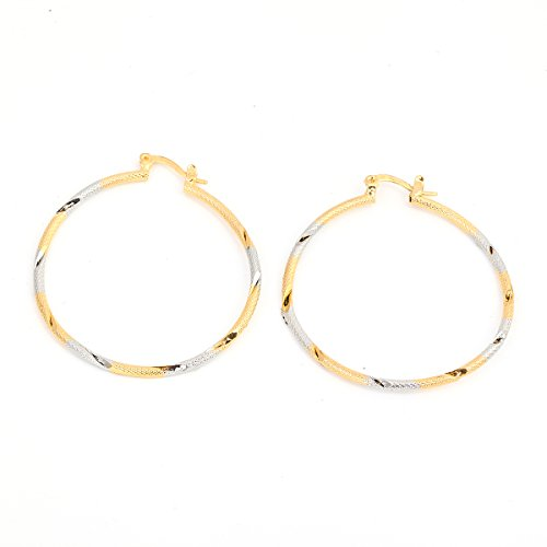 Big Twist Pendant - Big Twist Two Tone Round Gold Plated Clip Hoop Earring