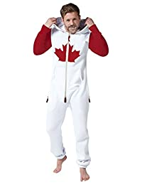 SkylineWears Mens Onesie Jumpsuit one Piece non Footed Pajamas Canadian Flag