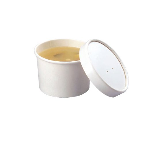 (Plain White Cardboard Paper Soup Container Bucket (Case of 25), PacknWood - Mini Disposable Ice Cream Bowls (8 oz, 2.4