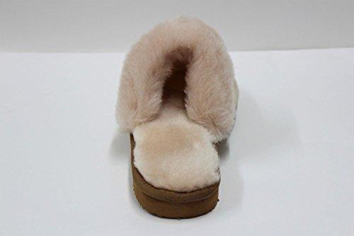 Furfurmouton Véritable Pantoufles En Peau De Mouton Australienne Womens En Peau De Mouton Mouton Laine Pantoufles Womens Super Épais Prime Moutons Laine Pantoufle Beige