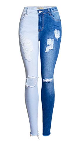 ZLL8 Women's Stretch Slim Color Flowers 3D Three-Dimensional Embroidery Beaded Jeans(Blue,Small) ()