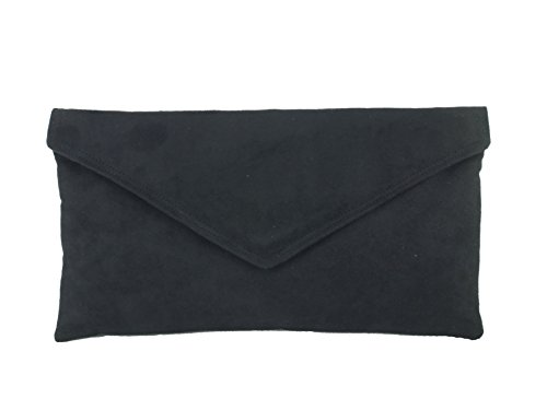 Womens Neat Shoulder Envelope Clutch Black Bag Suede Loni Faux Bag F4qFHd
