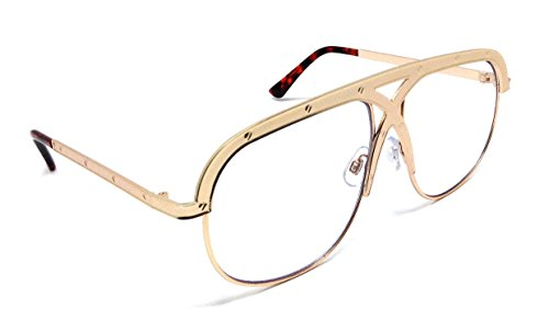 Berlin Oversized Aviator Metal Frame Luxury Sunglasses w/ Clear Lenses (Gold Frame & Tortoise Ear Piece, - Frame Gold Big