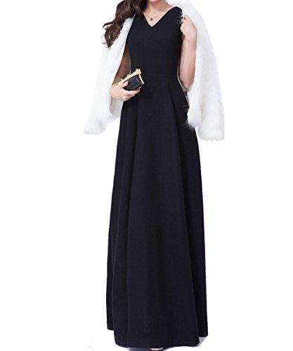 Robe Longue Noire Élégante Des Femmes Aishang Robes Funéraires Sans Manches Col V Noir