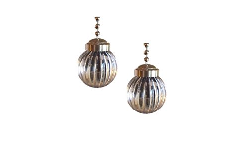 Upgradelights Pair of Clear Ball with Pewter Ceiling Fan Pull Extensions