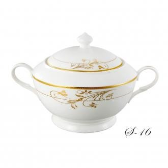 - Lorenzo Import La Luna Collection Bone China Souptureen with Lid, Rosalia Pattern by Lorren Home Trends, Gold