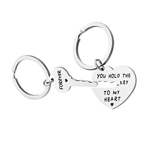 Couple Jewelry Gifts for Boyfriend & Girlfriend - You Hold The Key to My Heart Couple Keychain for Him and Her, Valentine's Day Birthday Gifts for BF,GF, His and Her Gifts (Best Gift For My Gf)