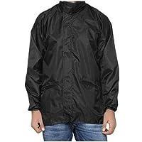 Dryon Men's Black Polyester Windcheater with Hidden Collar Pocket for Cap