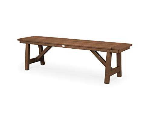 POLYWOOD Rustic Farmhouse 60″ Backless Bench in Teak