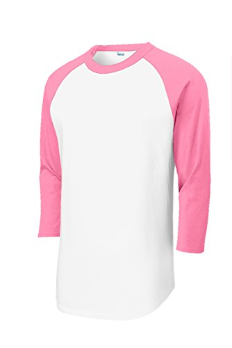 Mens Or Youth 3/4 Sleeve 100% Cotton Baseball Tee Shirts Youth S to Adult 4X WH/PNK-M