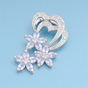 Lavender Star Cubic Zirconia (CloseoutWarehouse Lavender Cubic Zirconia Triple Star Flower Pendant Sterling Silver)