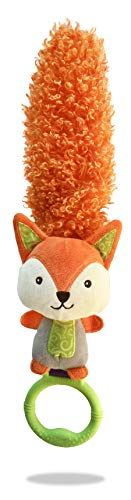 Yoee Baby Fox Newborn Development Activity Teething Multi-Texture Baby Toy with Rattle, Teether, Crinkle, Handle for Interacting and Feather Sensory Tail