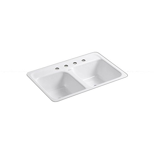 KOHLER K-5950-4-0 Delafield Tile-In and Metal Frame Kitchen Sink, - Kitchen Metal Sink Frame