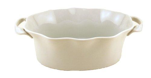 BIA Cordon Bleu Wavy 1-1/2-Quart Deep Oval Baker, White (Oval Baker Porcelain)