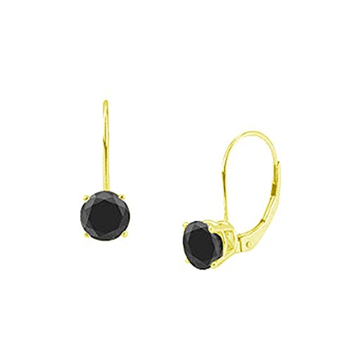 TriJewels Black Diamond Euro Wire Stud Earrings 4.00 ctw in 14K Yellow Gold