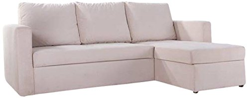Thy-Hom Faux Leather Sectional Sofa Bed, White