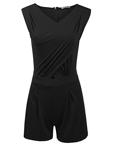 ACEVOG Women's Sleeveless Jumpsuit Sexy V Neck High Waist Shorts Rompers Invisible - One In Shorts All