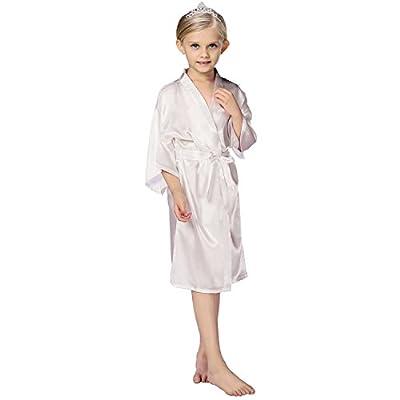 FCTREE Kids' Satin Kimono Robe Nightgown For Spa Party Wedding Birthday