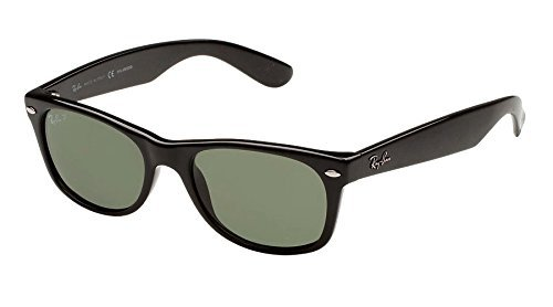 Ray-Ban RB2132 New Wayfarer Polarized Sunglasses Black/Crystal Green (901/58) RB 2132 - Small Ray Wayfarer Ban