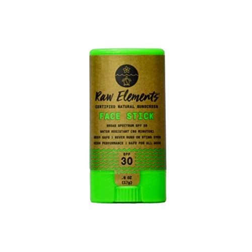 Raw Elements Face Stick Certified Natural Sunscreen   Non-Nano Zinc Oxide, 95% Organic, Very Water Resistant, Reef Safe, Non-GMO, Cruelty Free, SPF 30+, All Ages Safe, Moisturizing, 0.6oz