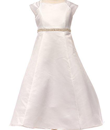 Big Girls' Elegant Bridal Satin Dress Rhinestone Belt Communion Girls Dress Off White Size 8
