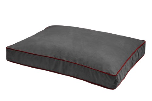 Dog Gone Smart Large Graphite Rectangular Dog Bed with Red Piping, My Pet Supplies
