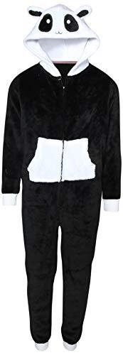 Rene Rofe Girl\'s Onesie Pajamas with Character Hood, Black Panda, Size 7/8' -