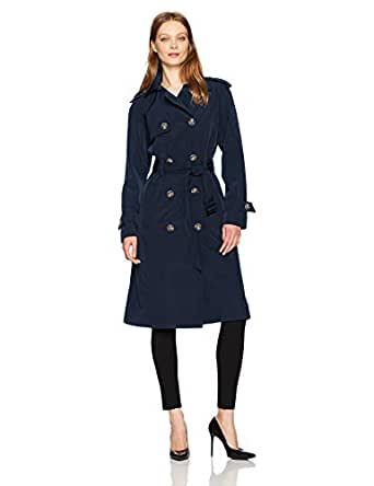 London Fog Womens L721585R93-Pn 3/4 Length Double-Breasted Trench Coat with Belt Long Sleeve Trenchcoat - Blue - X-Small
