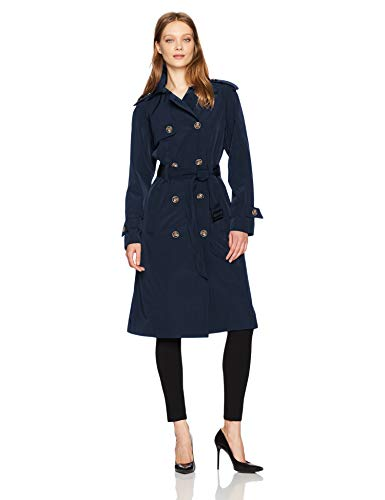 London Fog Women's 3/4 Length Double-Breasted Trench Coat with Belt, Navy, Large - London Fog Double Breasted Coat