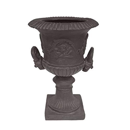 Great Deal Furniture JOA Chalice Garden Urn Planter, Roman, Botanical, Antique Gray Lightweight Concrete