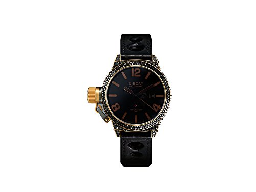 U-Boat Black Swan Automatic Watch, 18K Gold, Diamonds, Alligator Band, 8000