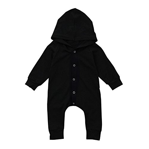 GRNSHTS Baby Boys Girls Black Snap Long Sleeve Hoodie Onesie Jumpsuit A Black 70/03 Months