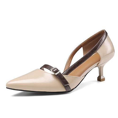 QOIQNLSN Zapatos De Mujer Cuero Nappa Confort Primavera Tacones Stiletto Talón Negro/Marrón/Rosa Black