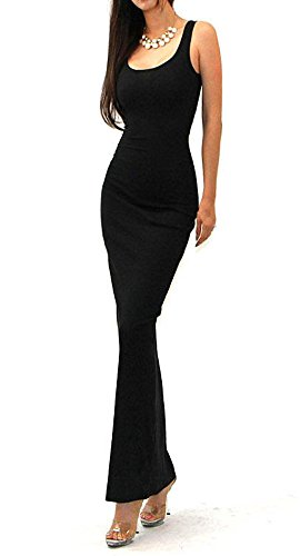 Vivicastle Solid Tank Scoop Neck Ribbed Maxi Summer Dress (large, black)