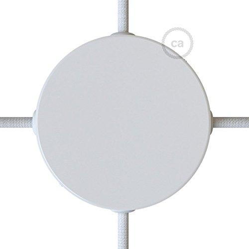 Creative-Cables Kit rosace en mé tal blanc 120 mm 4 trous laté raux, complet d\'accessoires complet d' accessoires