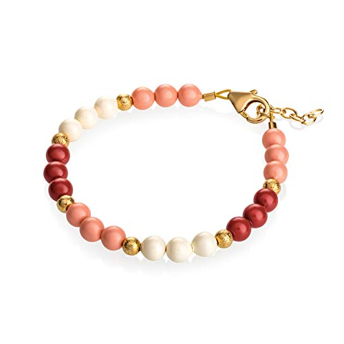 Crystal Dream Coral, Red, Ivory Simulated Pearls with Gold Glitter Beads Baby Girl Bracelet Gift (B1736_S) ()