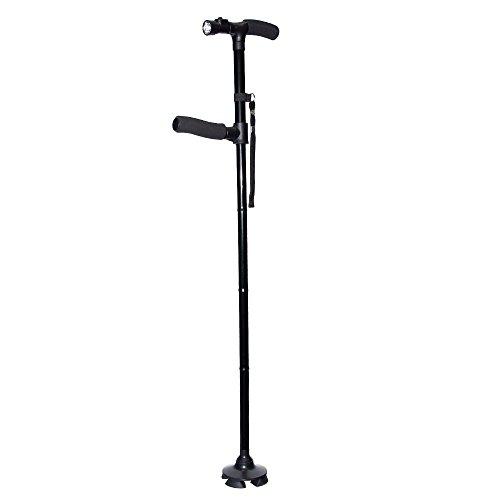 [보행보조재활지팡이] 안주상사 자립식 스틱 지팡이 접이식 트윈 그립 더블 핸들 4 점 지주 LED 라이트 탑재