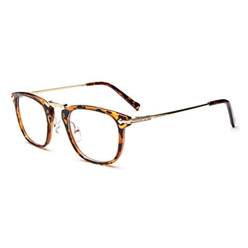 LOMOL Classic College Retro Style Cute Personality Transparent Metal Glasses For Men&Women(C2)