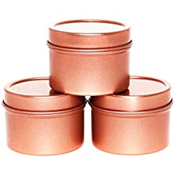 Craft Clouds Mimi Pack 1 oz Deep Round Metal Tin Container Solid Slip Top Lid for Salves, Favors, Spices, Balms, Candles, Gifts 24 Pack (Rose Gold)