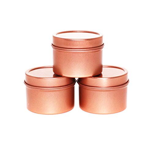 (Mimi Pack 1 oz Deep Round Metal Tin Container Solid Slip Top Lid For Salves, Favors, Spices, Balms, Candles, Gifts 24 Pack (Rose Gold))