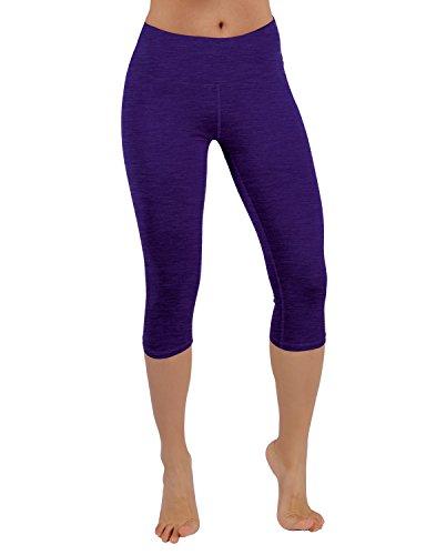 ODODOS Power Flex Yoga Capris Pants Tummy Control Workout Running 4 way Stretch Yoga Capris Leggingss With Hidden Pocket,Purple,Medium