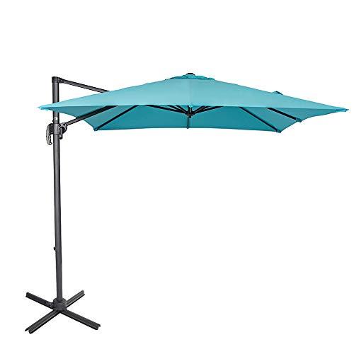 Sundale Outdoor 8.2ft Square Offset Hanging Umbrella Market Patio Umbrella Aluminum Cantilever Pole with Crank Lift, Corss Frame, Polyester Canopy,360°Rotation, for Garden, Deck, Backyard (Light Blue