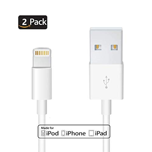 (Uelkdef 2Pack Lightning to USB Cable Apple Original Charger - Apple MFi Certified iPhone Charger Cable for iPhone X/8/7/SE/6s/6/plus/5s/5c,iPad Pro/Air/Mini,iPod touch,Certified by Apple(White 3.33FT))
