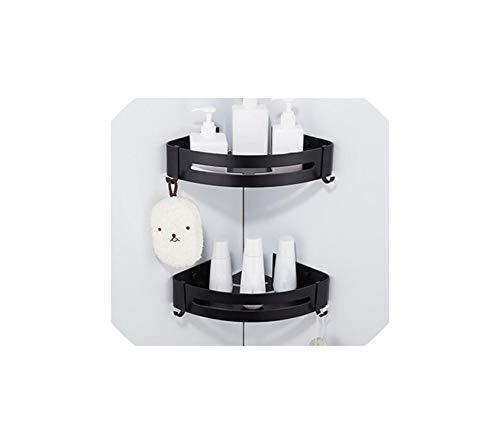 Bathroom Corner shelf Wall Mounted Black Aluminum Kitchen Storage holder,two tier corner ()