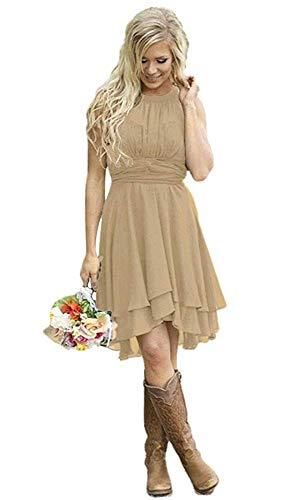Gemila Women's Halter Chiffon Ruffled Party Gown Bridesmaid Dress Dark Champagne US10 (Halter Ruffled Evening Gown)
